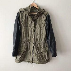Aritzia Talula utility jacket leather sleeves